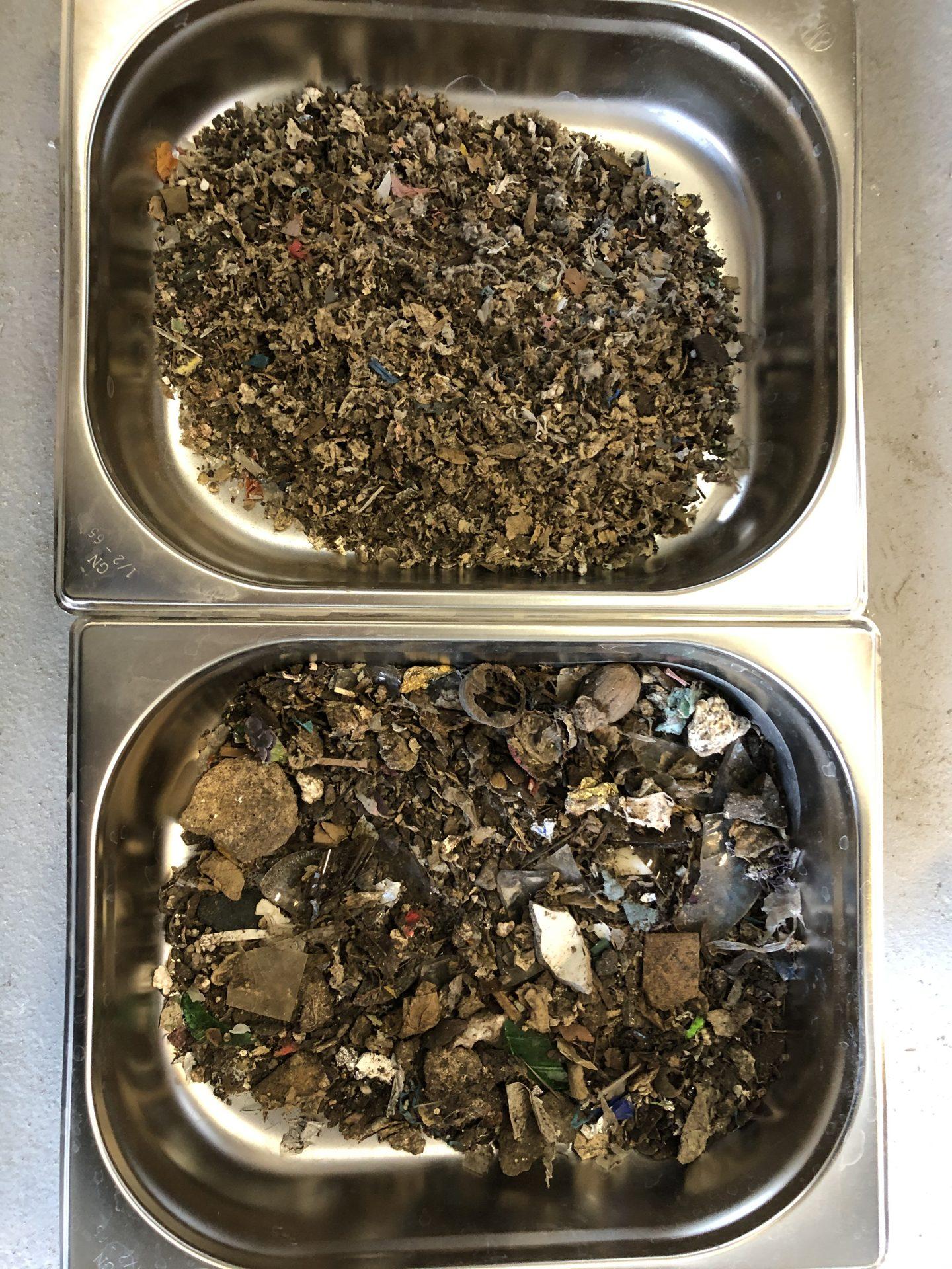 Próbka odpadów przed i po mieleniu
