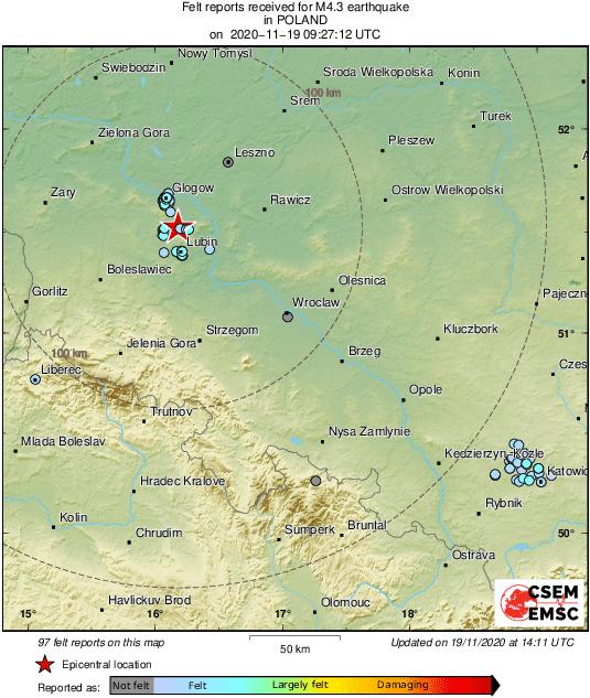 Wstrząsy w południowo-zachodniej Polsce